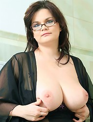 Theres playing with her boobs and huge dildo in...